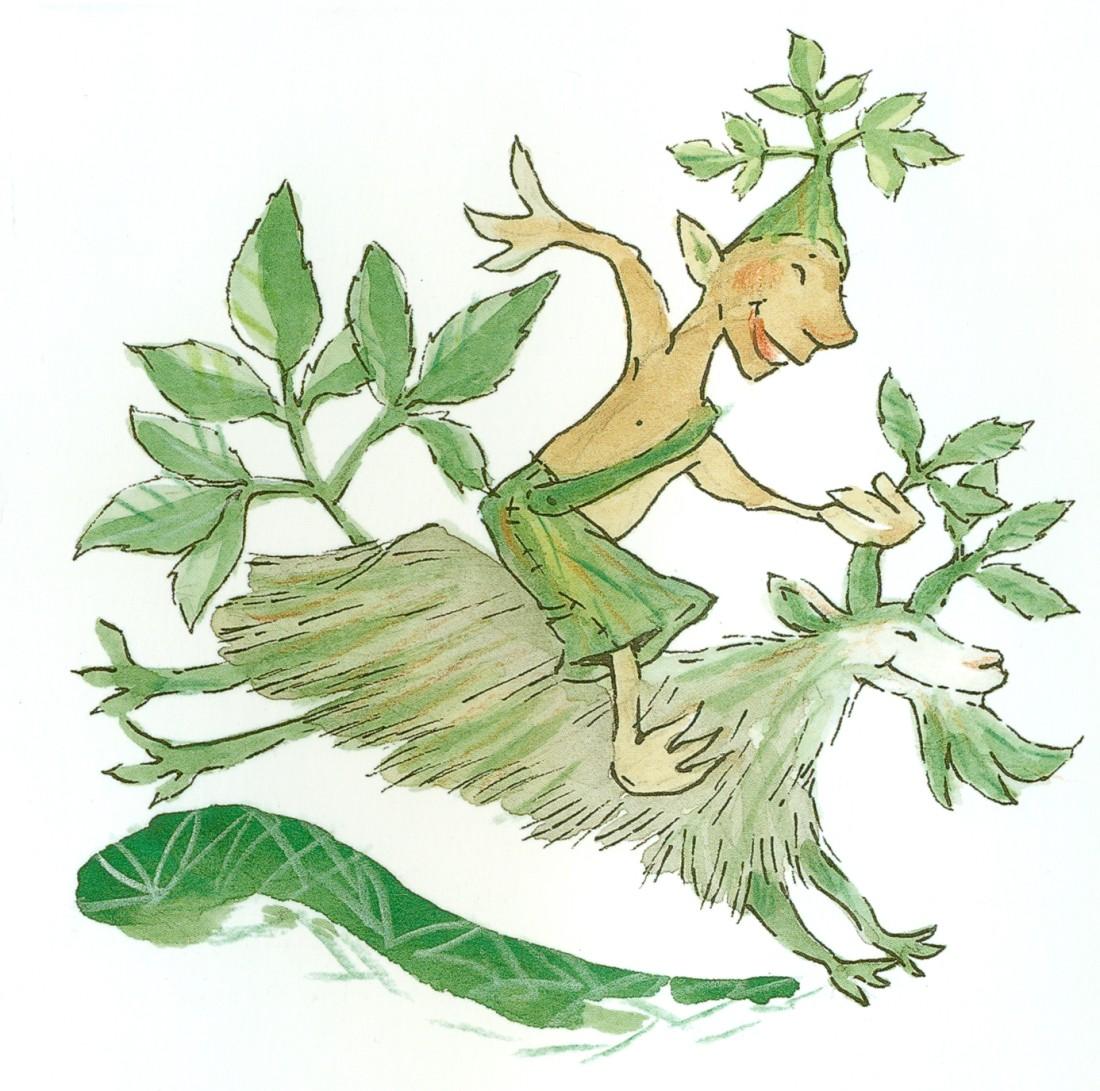 Ville Vuohenputki on 10-vuotista taivaltaan juhlivan Villiinny villivihanneksiin -kirjan kuvitusta. Kuvittaja Heli Pukki.